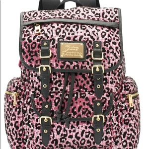Juicy Couture Leopard  Backpack Pink-Silver Sequin